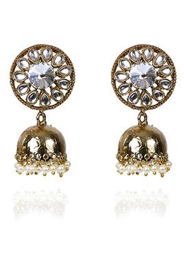 Gold N White Jhumka Earring