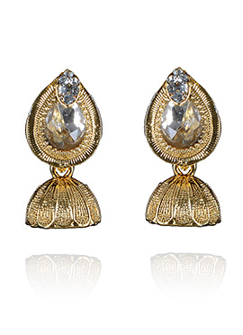 Gold N White Jhumka Earrings