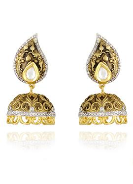 Gold N White Jhumka Earrings