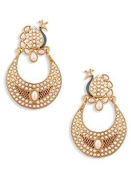 Gold N White Moti Chand Bali Earrings