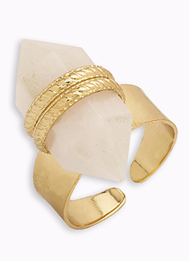 Gold N White Ring