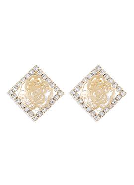 Gold N White Stud Earrings