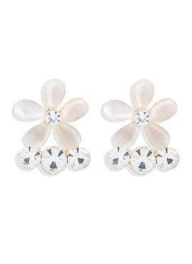 Gold N White Stud Earrings