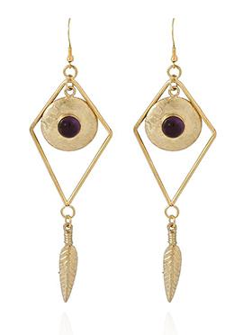 Gold N Wine Danglers Earring