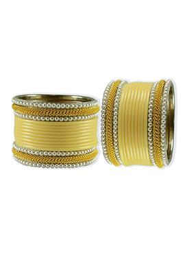Gold N Yellow Moti Studded Elegant Bangles