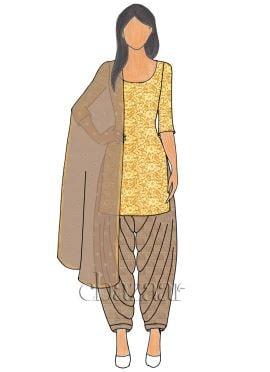 Gold Net N Beige Mogra Silk Patiala suit