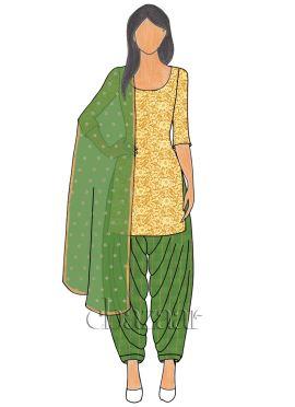 Gold Net N Green Mogra Silk Patiala suit