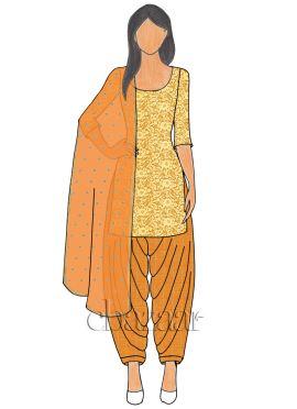 Gold Net N Orange Mogra Silk Patiala suit