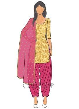 Gold Net N Rani Pink Mogra Silk Patiala suit