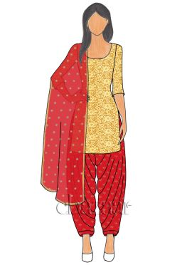 Gold Net N Red Brocade Patiala suit