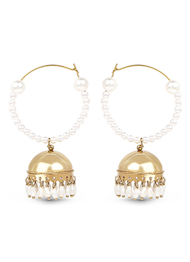 Gold Pearl Studded Hoop Jhumkas