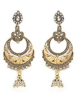 Gold Stone Studded Foliage Designed Drop Earrings