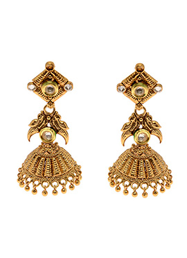 Golden Antique Beads Jhumka