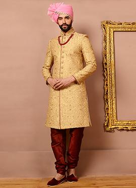 Golden Art Silk Achkan Sherwani