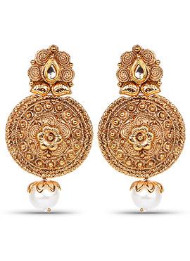 Golden Bead Dangler Earring