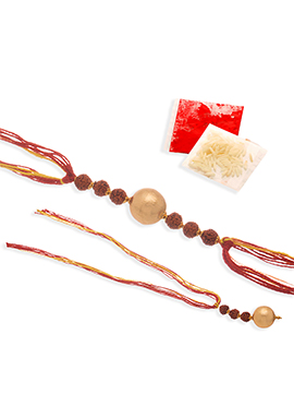 Golden Beads N Rudraksha Rakhi