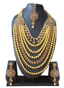 Golden Beads N Stone Layered Necklace Set