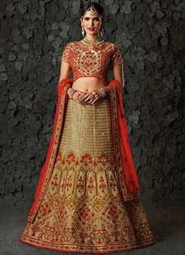 Golden Beige A Line Bridal Lehenga