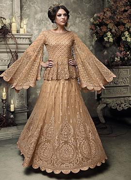 Golden Beige abaya Style Anarkali Suit