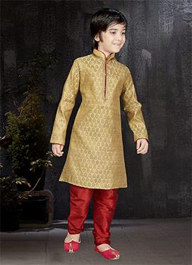 Golden Beige Art Benarasi Silk Kids Kurta Pyjama
