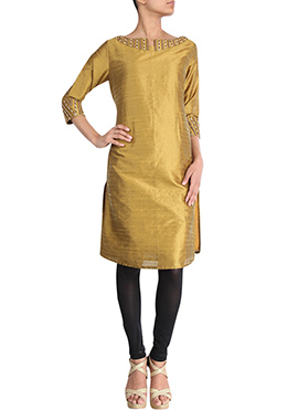 Golden Beige Art Dupion Silk Kurti