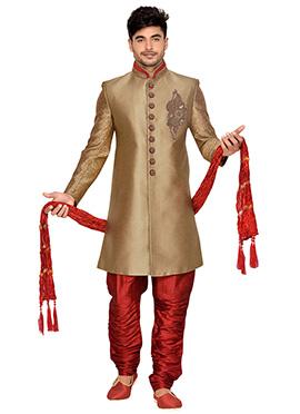 Golden Beige Art Silk Achkan Sherwani