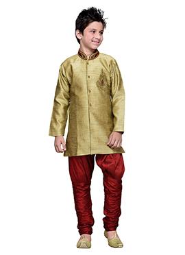 Golden Beige Art Silk Breeches Style Boys Sherwani