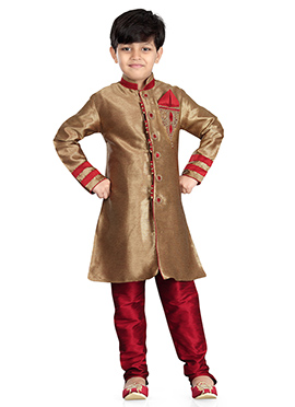 Golden Beige Art Silk Kids Kurta Pyjama