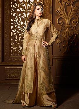 Golden Beige Art Silk Shimmer Net Palazzo Suit