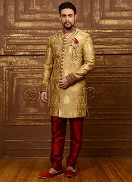 Golden Beige Benarasi Silk Achkan Sherwani