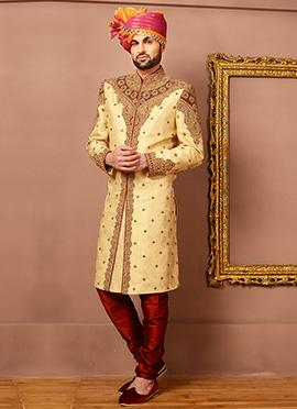 Golden Beige Benarasi Silk Classic Sherwani