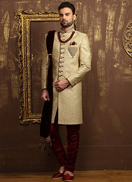 Golden Beige Breeches Style Achkan Sherwani