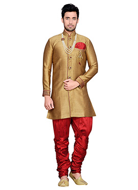 Golden Beige Breeches Style Sherwani