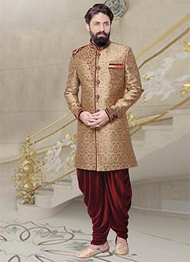 Golden Beige Dhoti Style Indo Western Sherwani