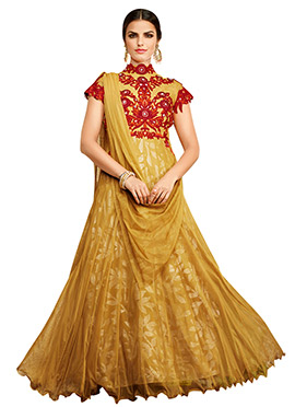 Golden Beige Embroidered Anarkali Gown