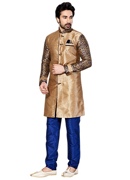 Golden Beige Embroidered Sherwani