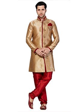Golden beige Embroidered Sherwani
