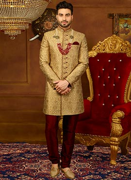 a0082a19b7 Buy Gold Color Mens Sherwanis | Online Gold Color Sherwanis | Gold ...