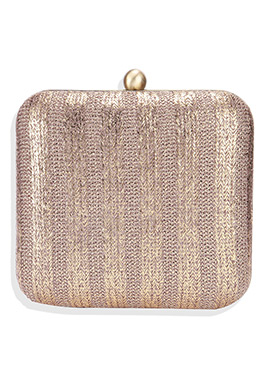 Golden Beige Leather Box Clutch