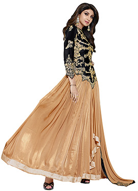 Shilpa Shetty Golden Beige N Black Anarkali Suit