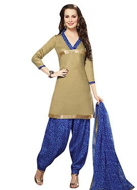 Golden Beige N Blue Semi Patiala Suit