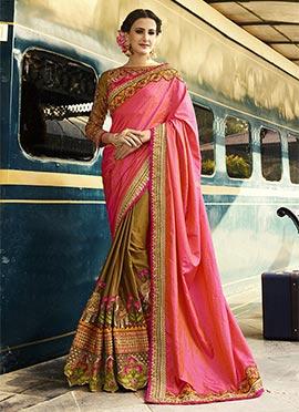 Golden Beige N Pink Half N Half Saree