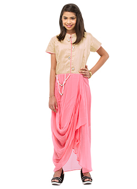 Golden Beige N Pink Teenage Indowestern Suit