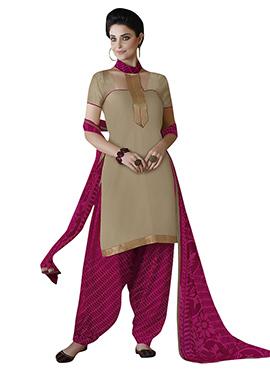 Golden Beige N Pink Semi Patiala Suit