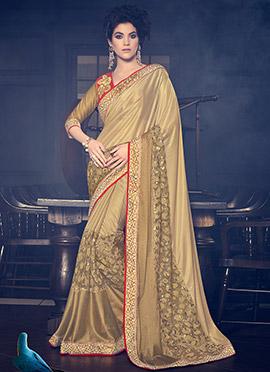 Golden Beige Net Saree
