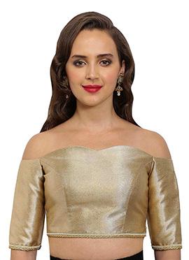 Golden Beige Polyester Off Shoulder Blouse