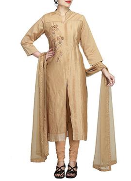Golden Beige Pure Chiffon Churidar Suit