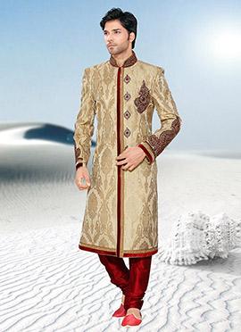 Golden Beige Pure Ghicha Silk Sherwani