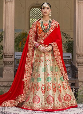 Golden Benarasi Pure Silk A Line Lehenga Choli
