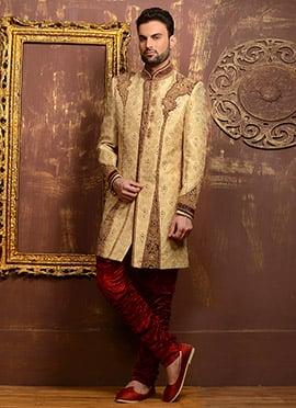 Golden Benarasi Silk Breeches Style Chipkan Sherwani